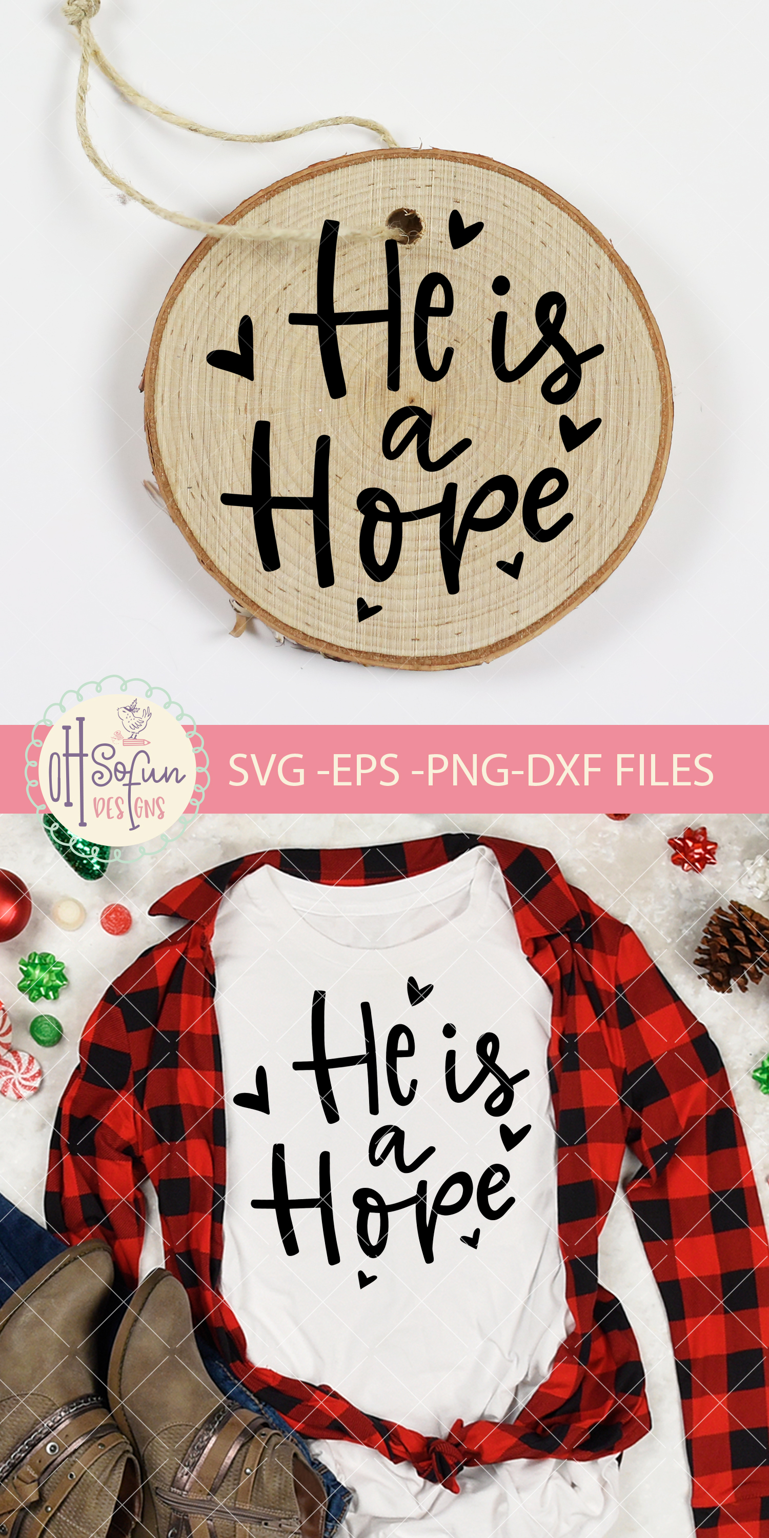 He is a hope, hand lettering christmas ornament SVG example image 2