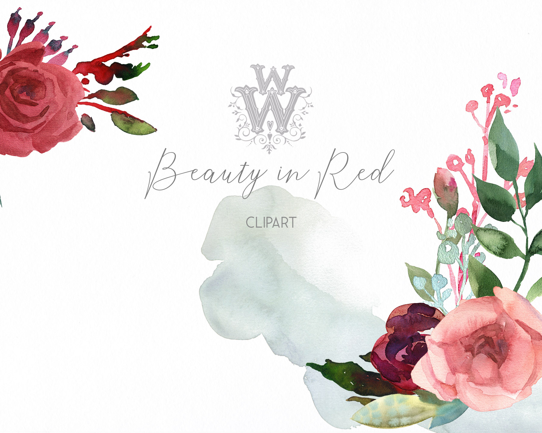 Watercolor red rose flowers wedding clipart, boho pink peony example image 7