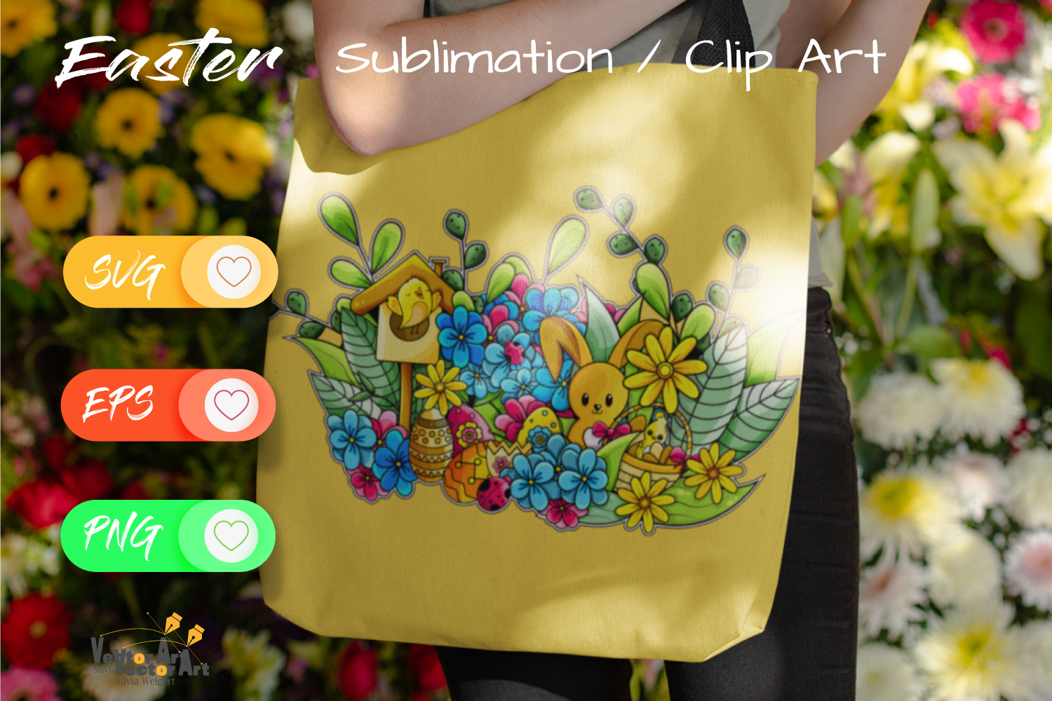 Happy Easter Illustration - Sublimation / Clip Art example image 2