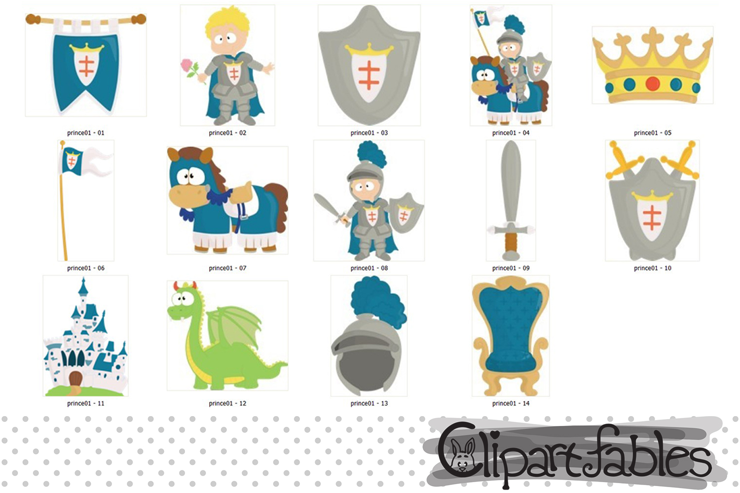 Cute KNIGHT clipart, Fairy tale clip art, PRINCE clip art example image 2