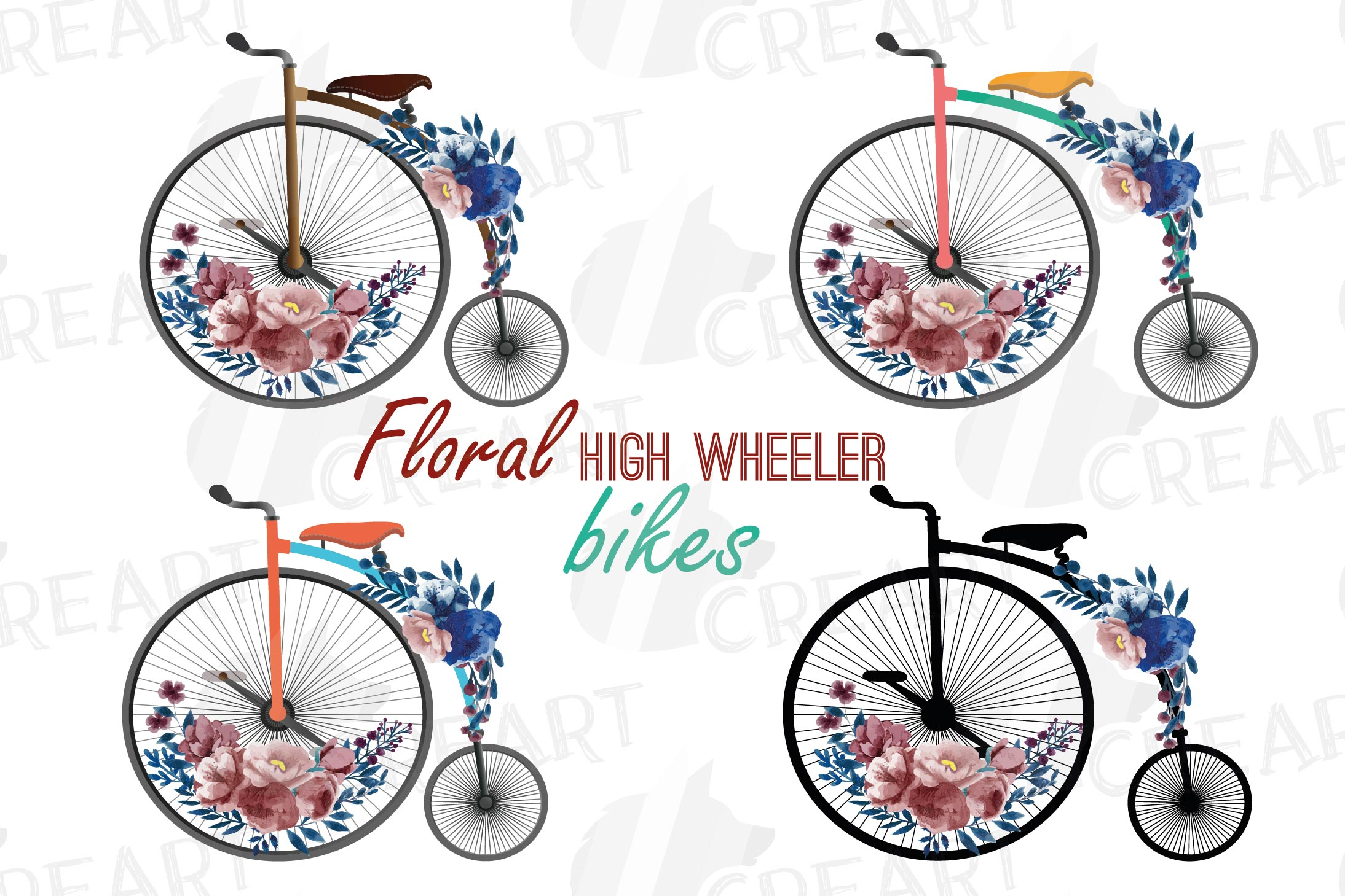 Navy blue and blush floral high wheelers clip art pack example image 1