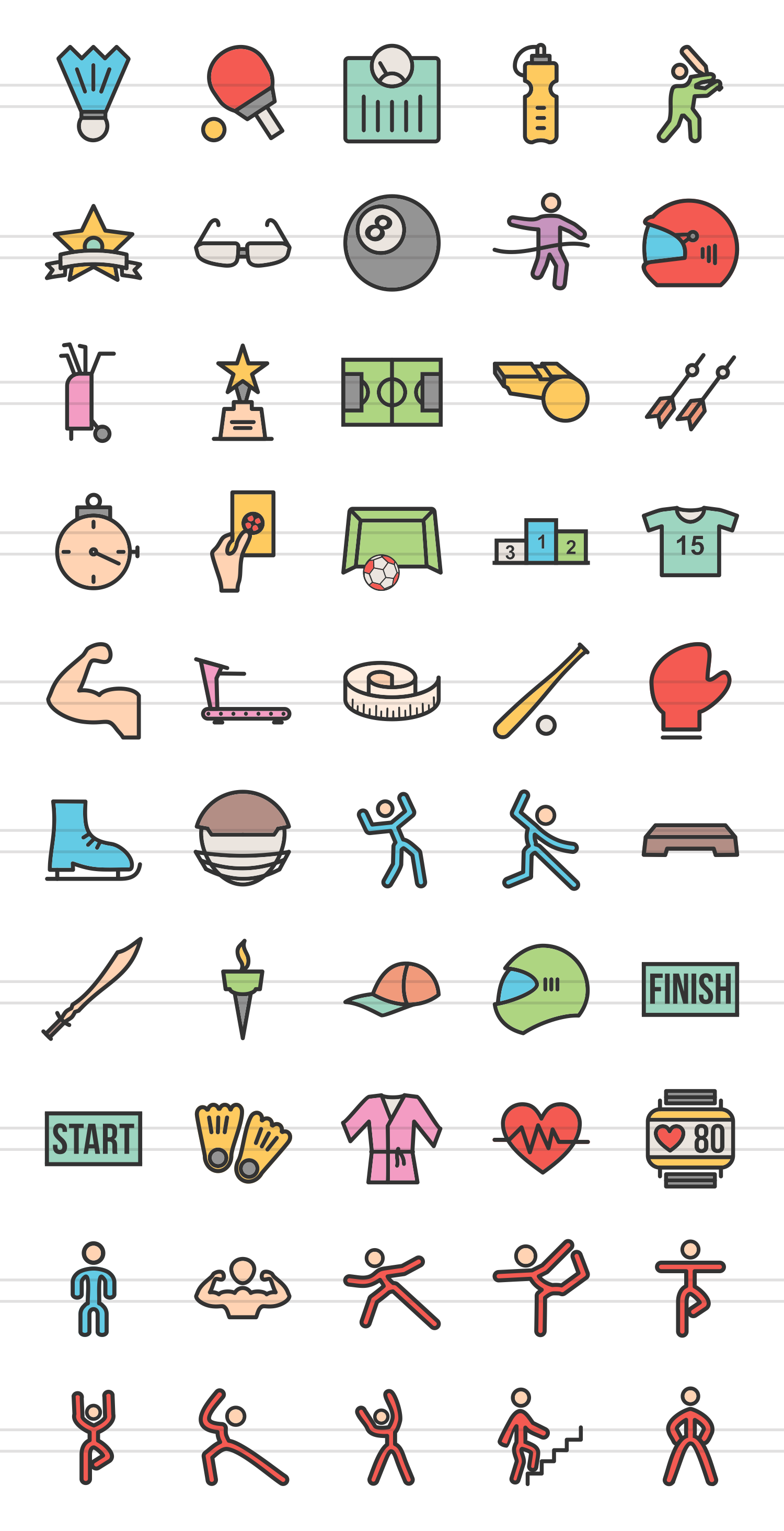 50 Fitness & Sports Linear Multicolor Icons example image 2