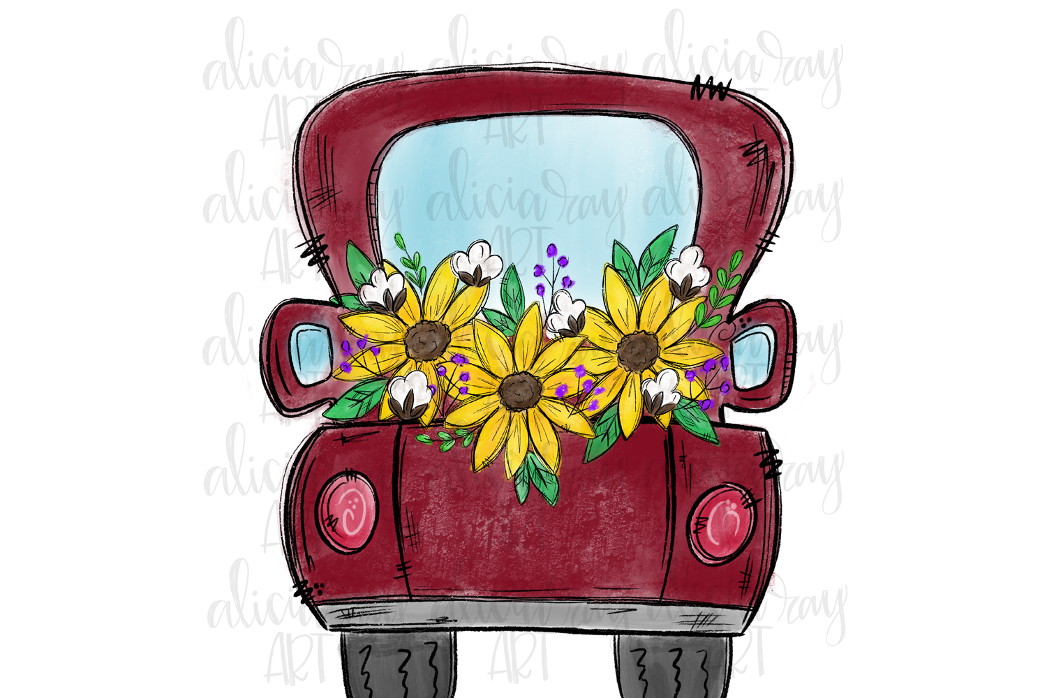 Red Sunflower Truck Sublimation PNG Digital Download example image 1