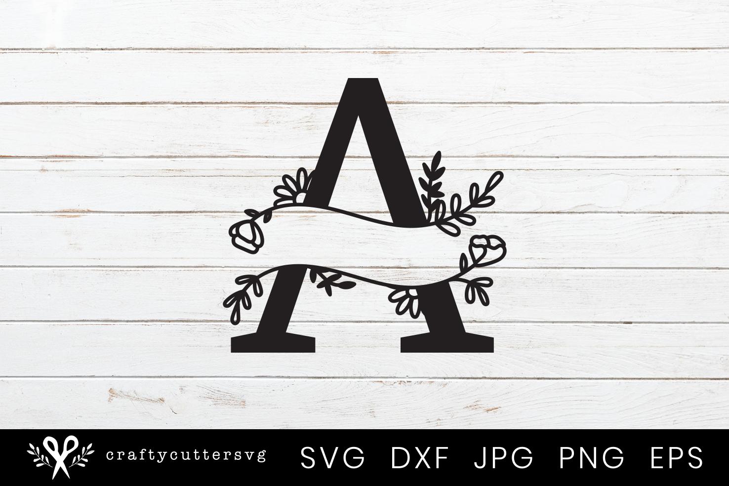 A Split Monogram Letter Handdrawn Botanical Flower Leaves example image 1