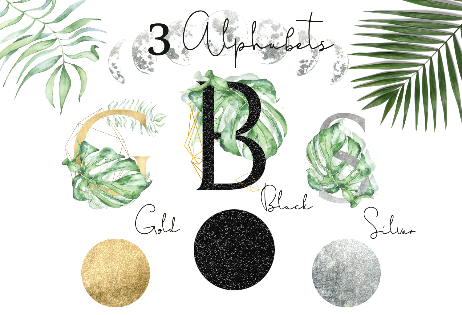 Mistery Monstera - tropical leaves watercolor illustration example image 7
