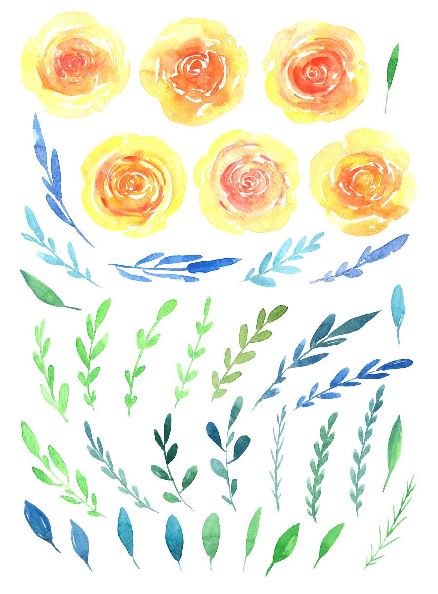 Watercolor yellow & orange flowers example image 2