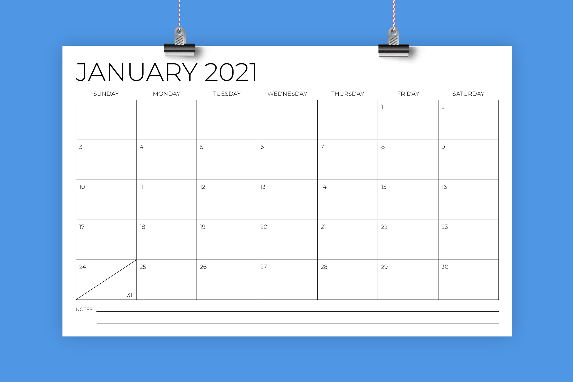 11 x 17 Inch Modern 2021 Calendar example image 1
