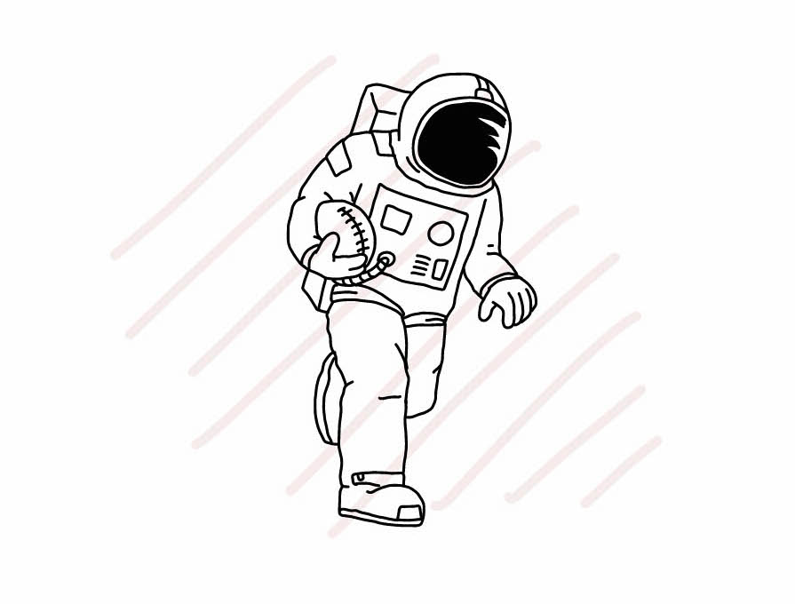Astronaut Playing American Football - SVG/JPG/PNG Hand Drawing example image 1