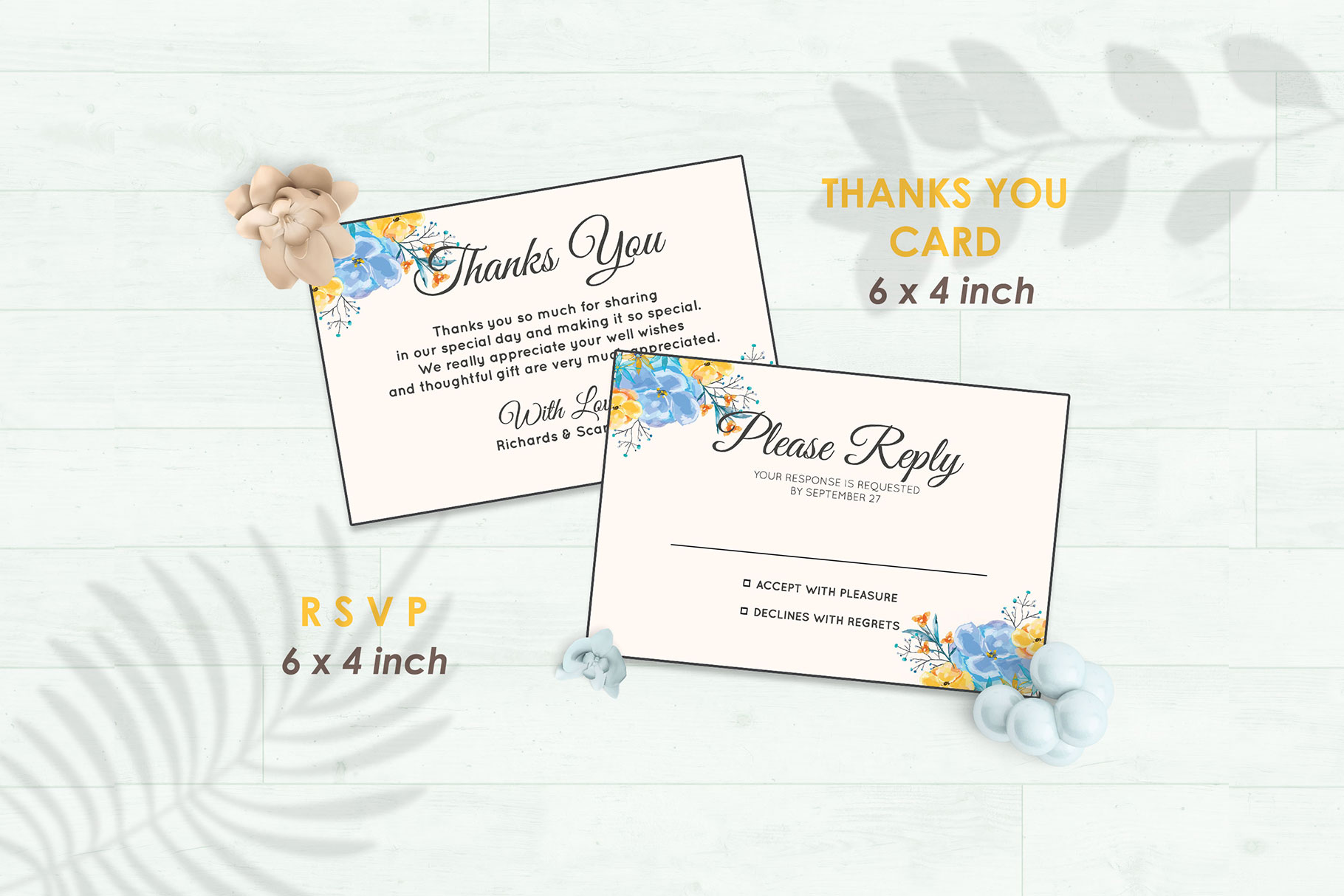 Wedding Invitation Set #7 Watercolor Floral Flower Style example image 4
