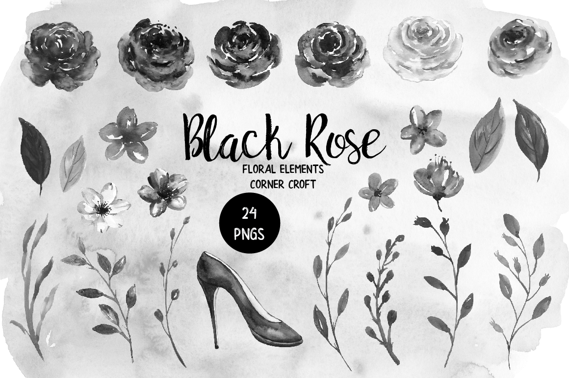 Watercolor Collection Black Rose example image 2