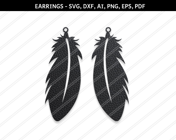 Feather earrings svg,silhouette,Hippie earring,cricut files example image 1
