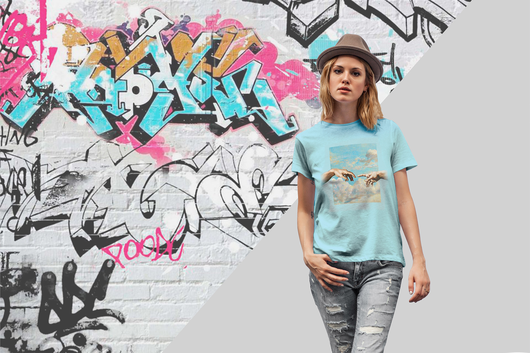 T-Shirt Mock-Up's Casual Girl example image 2