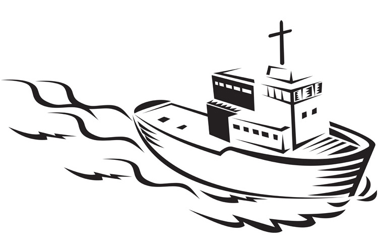 commercial fishing boat ship sea woodcut example image 1