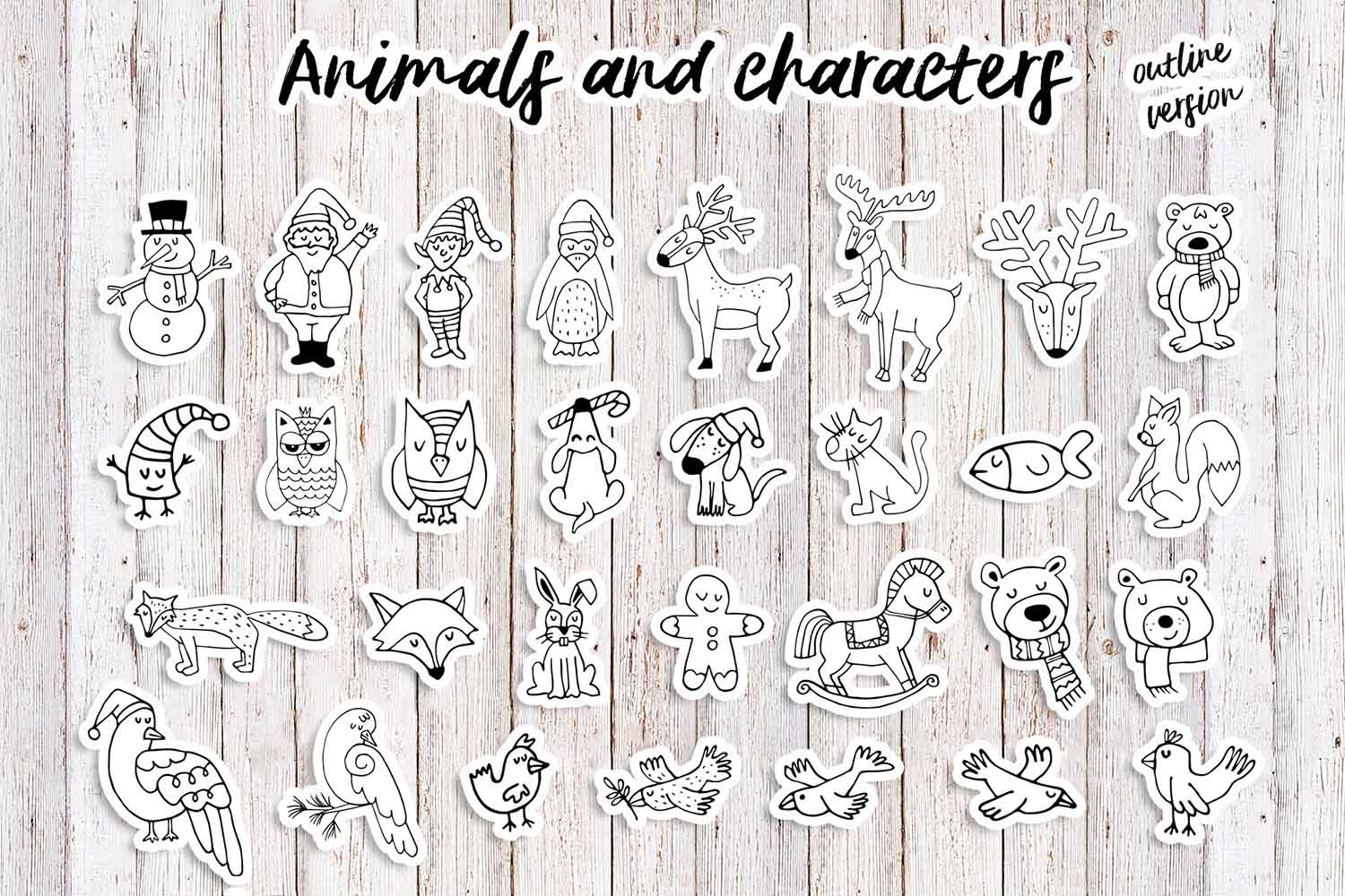 Sweet Christmas: hand drawn set with cute animals example image 8