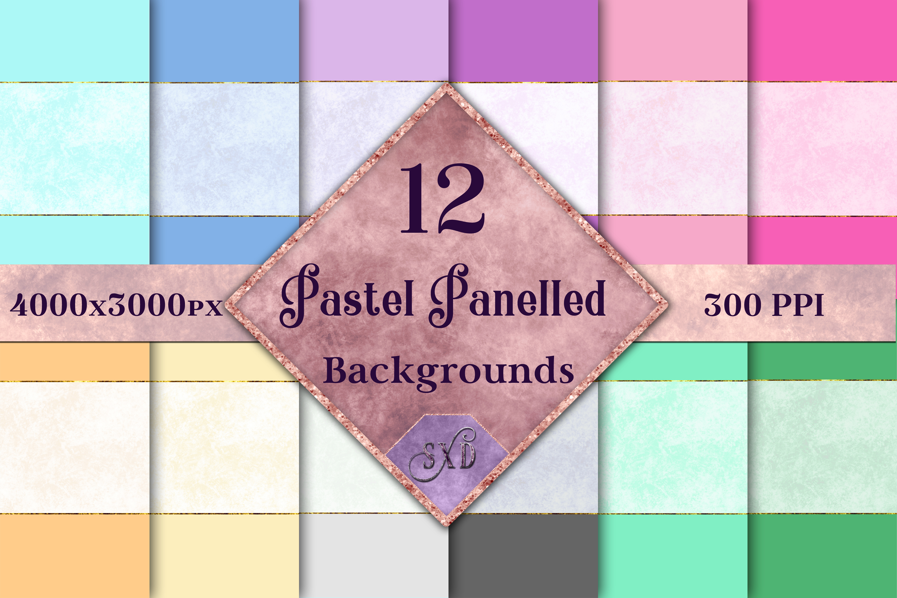Pastel Panelled Backgrounds - 12 Image Textures Set example image 1
