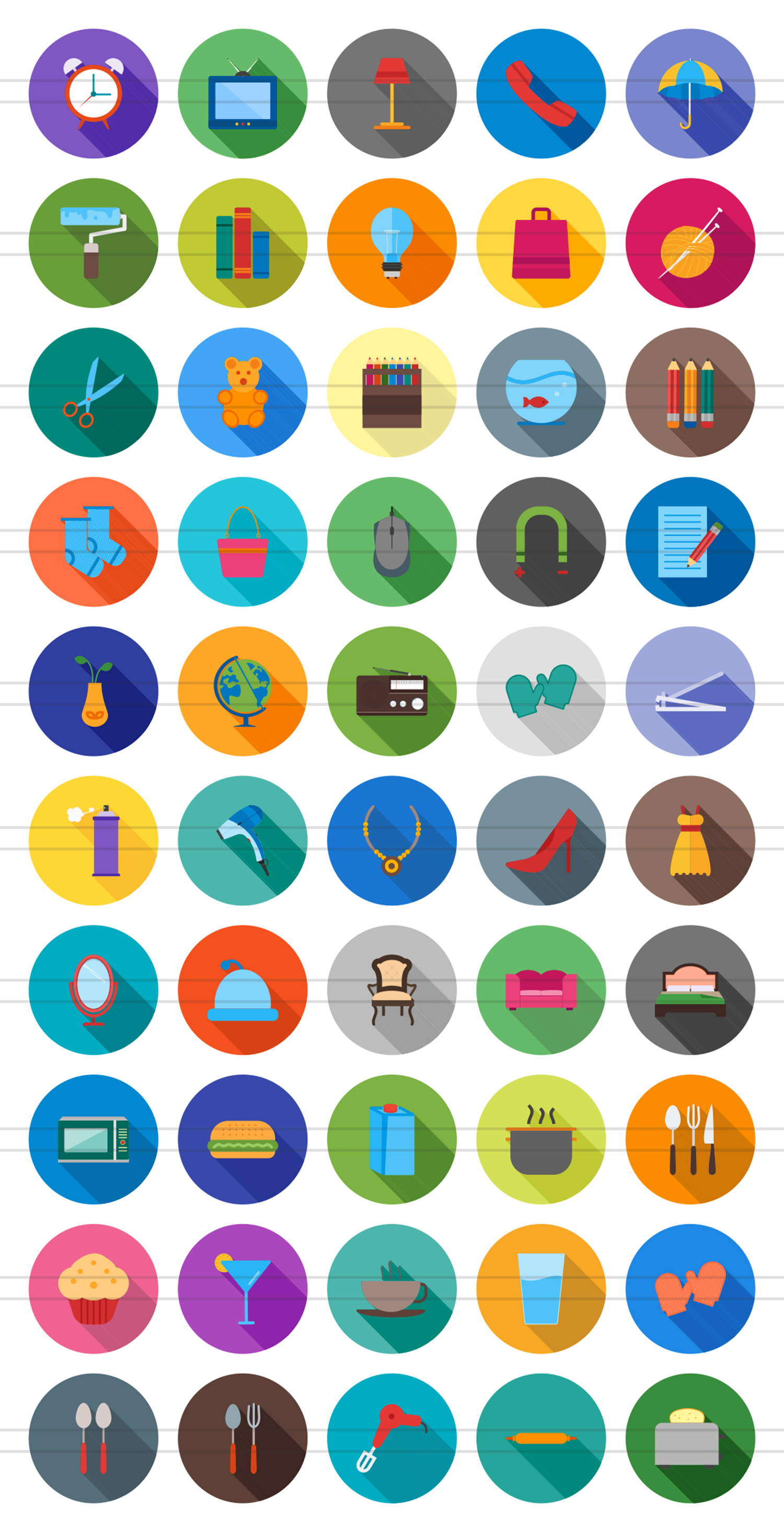 50 Household Objects Flat Long Shadow Icons example image 2