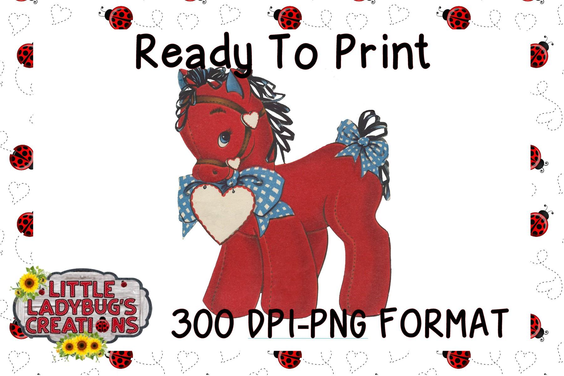 Vintage Valentine Horse 300DPI PNG Printable Digital Design example image 1