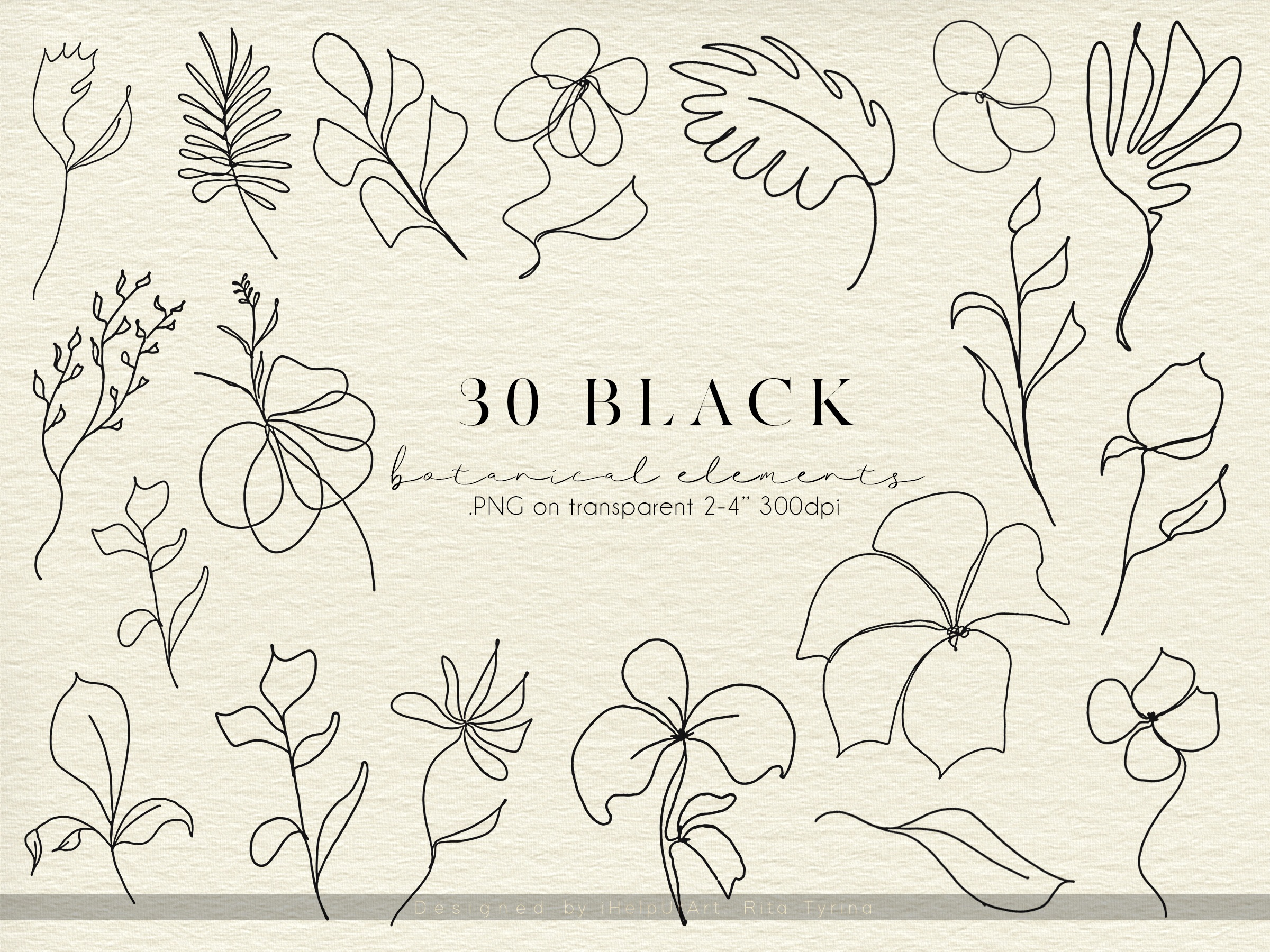 One Line Floral Clipart - Linear Art example image 4