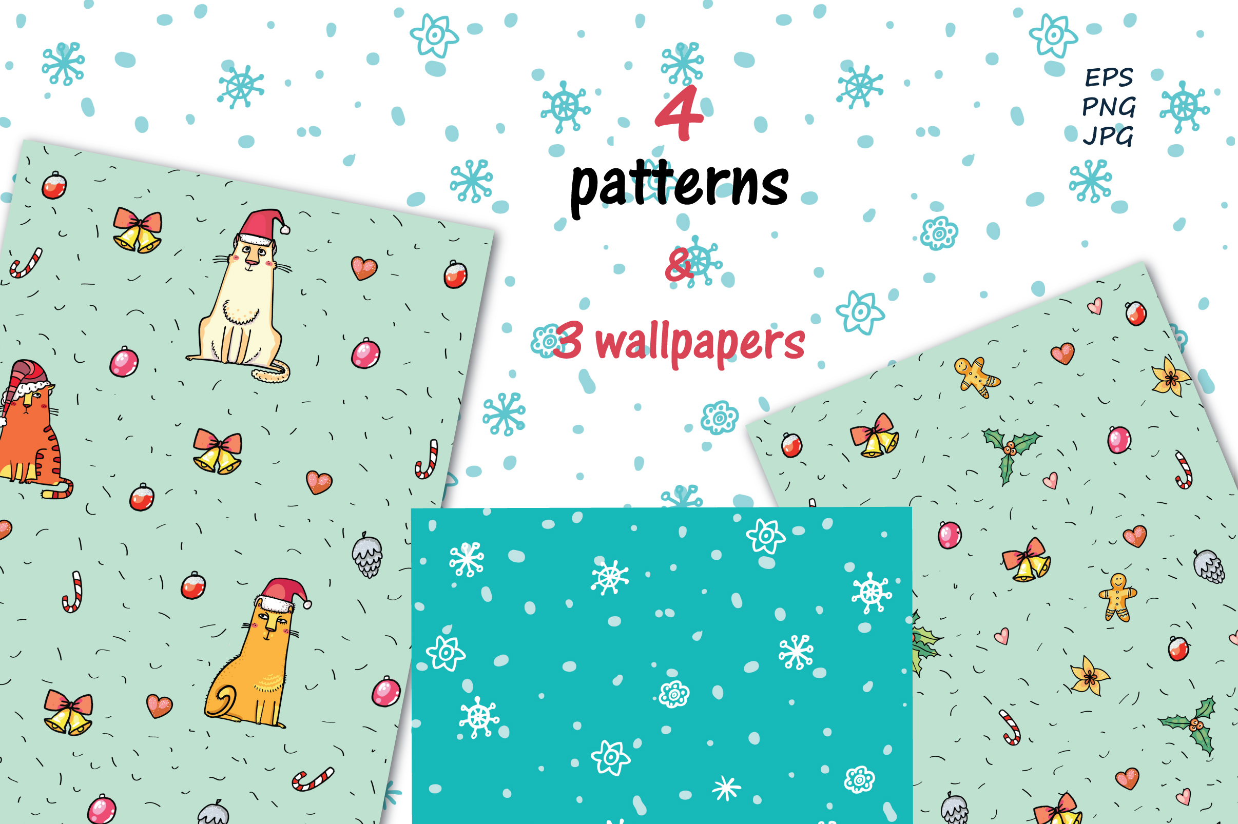 Xmas Cats clip-art, patterns, cards example image 6