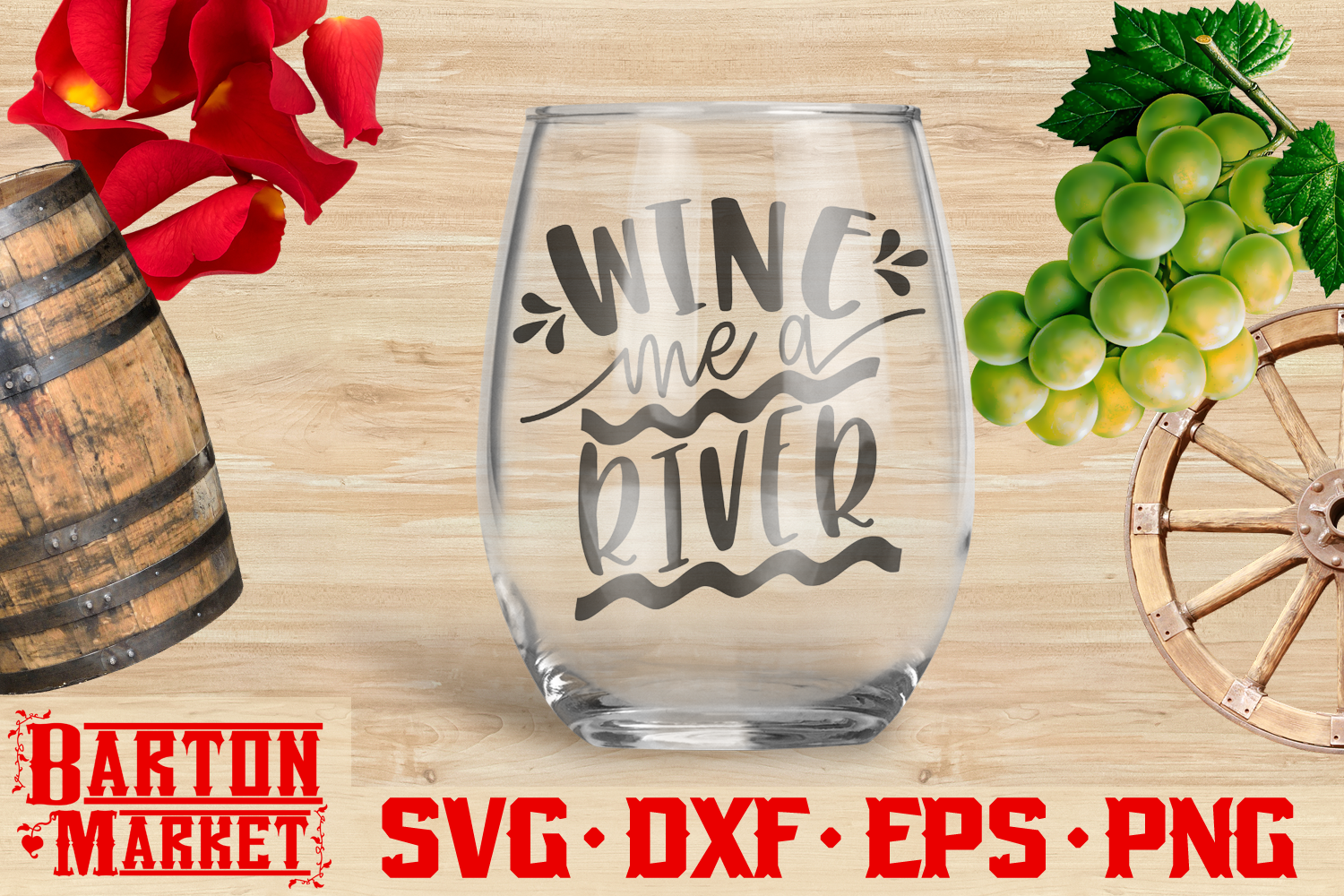 Wine Me A River SVG DXF EPS PNG example image 2