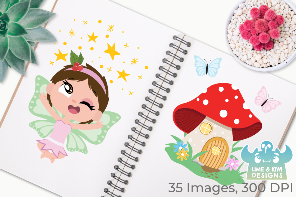 Fairies Clipart, Instant Download Vector Art, Commercial Use example image 3