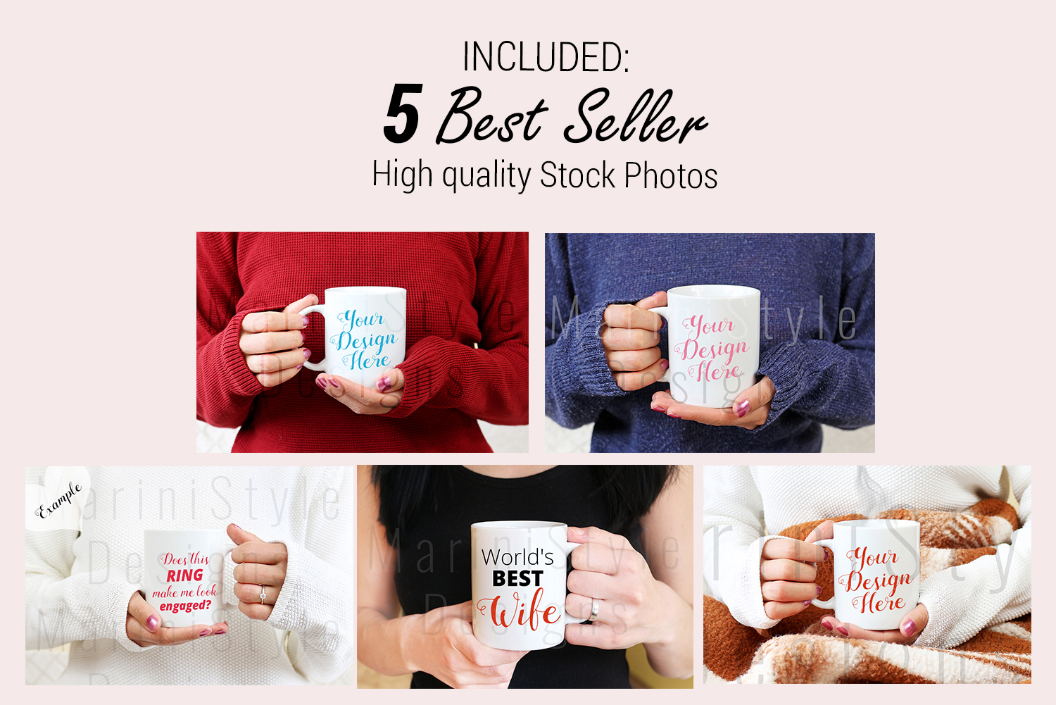 Mug mockup BUNDLE with women, Woman holding mug mockup, 915 example image 2