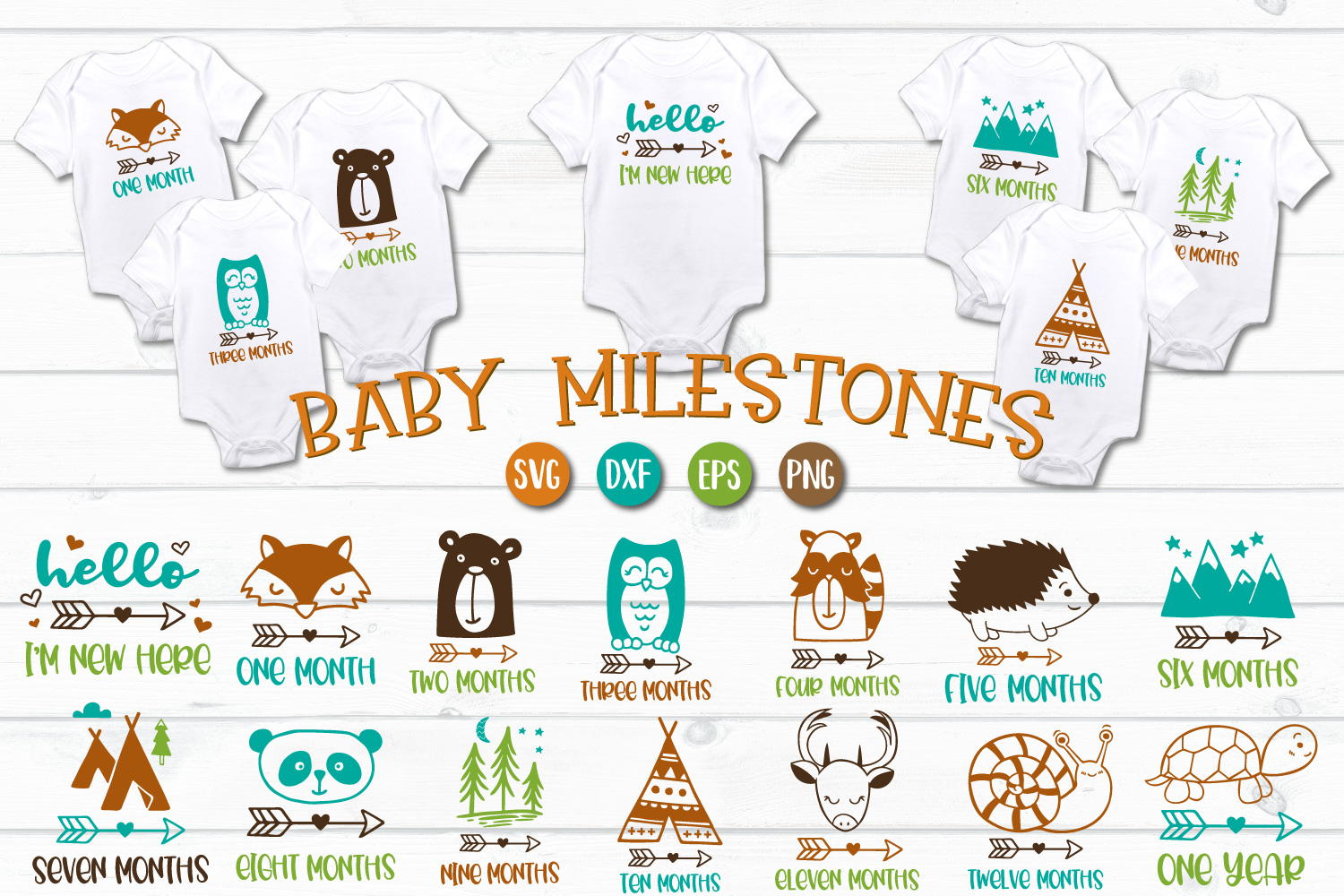 Baby Milestones - SVG, EPS, PNG, EPS example image 1