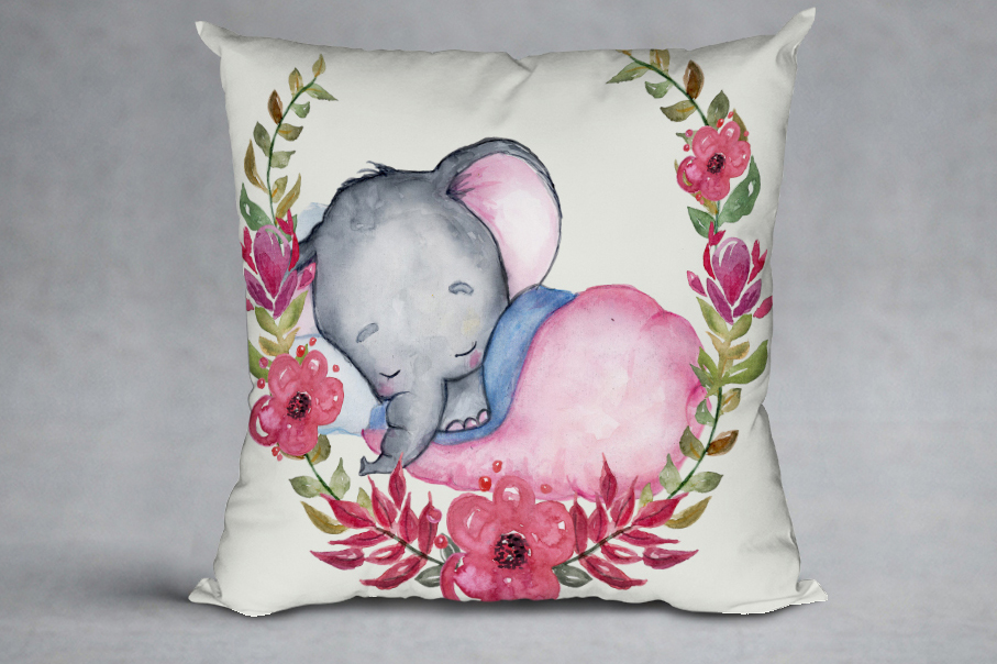 Cute Elephant clipart,WATERCOLOR ANIMALS, Baby shower clipat example image 9