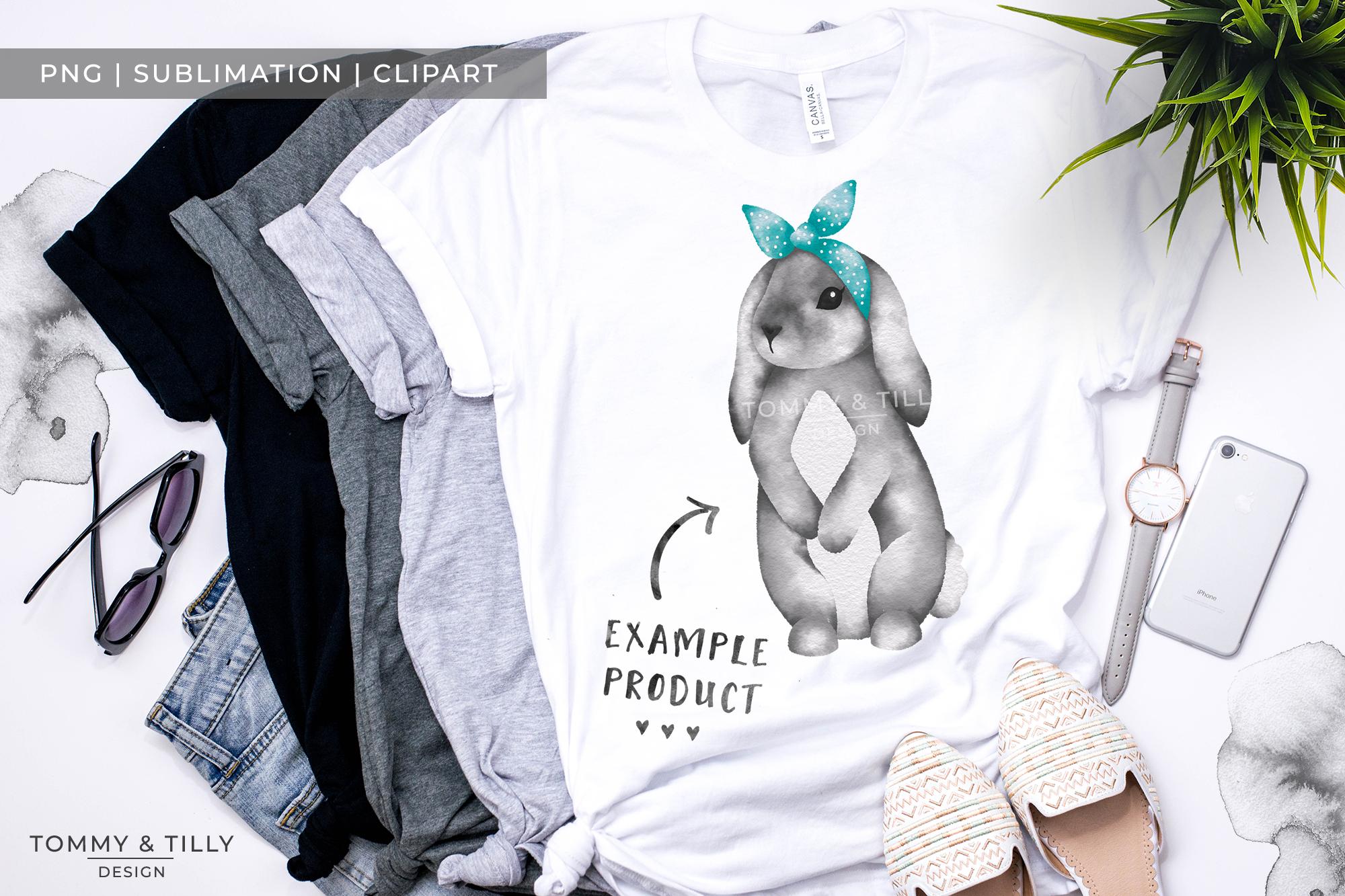 Grey Bunny Bandana No.2 - Sublimation PNG Clipart example image 2