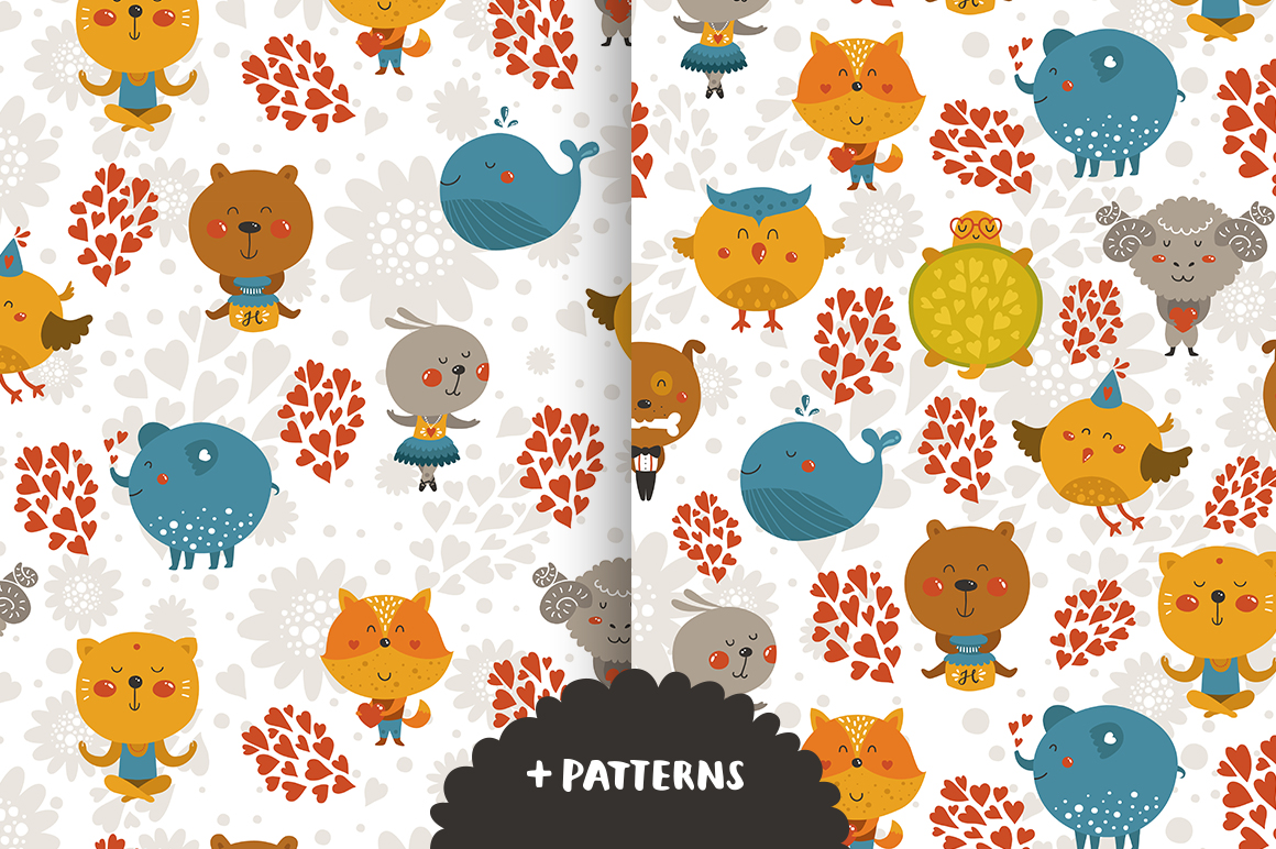 12 cute animals+patterns example image 3