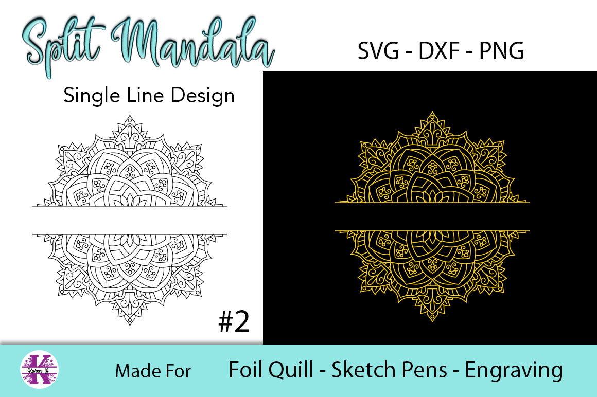 Split Mandala #2 for Foil Quill|Sketch Pen|Engraving example image 2