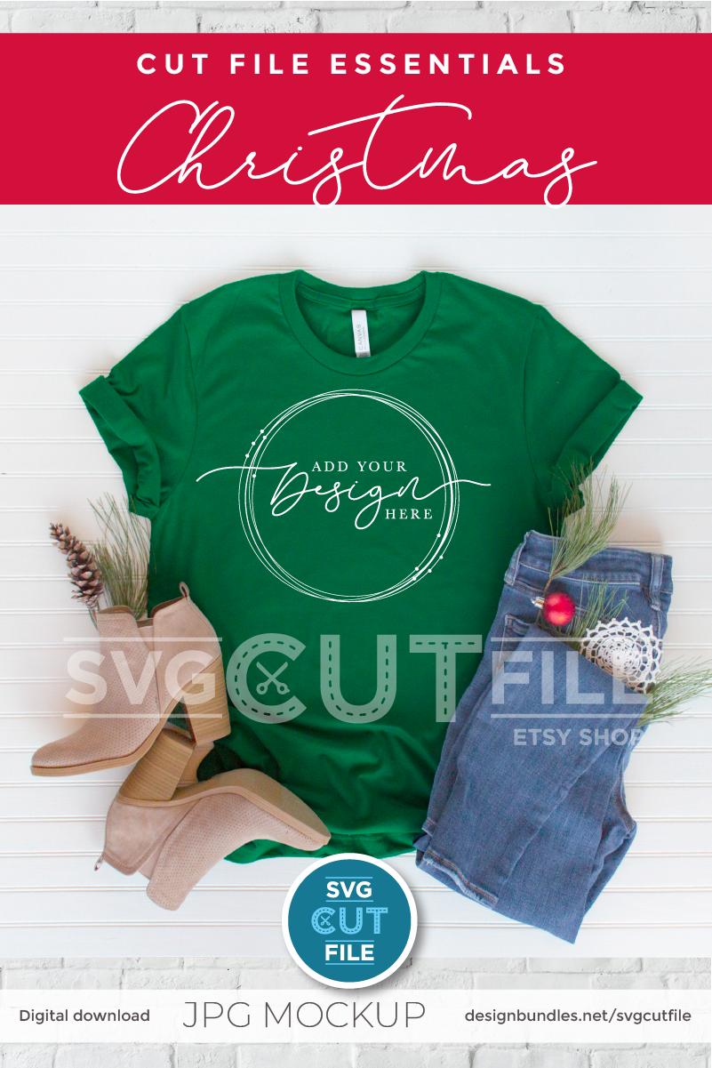 Mockup Bella Canvas 3001, green Christmas Shirt, Evergreen example image 2