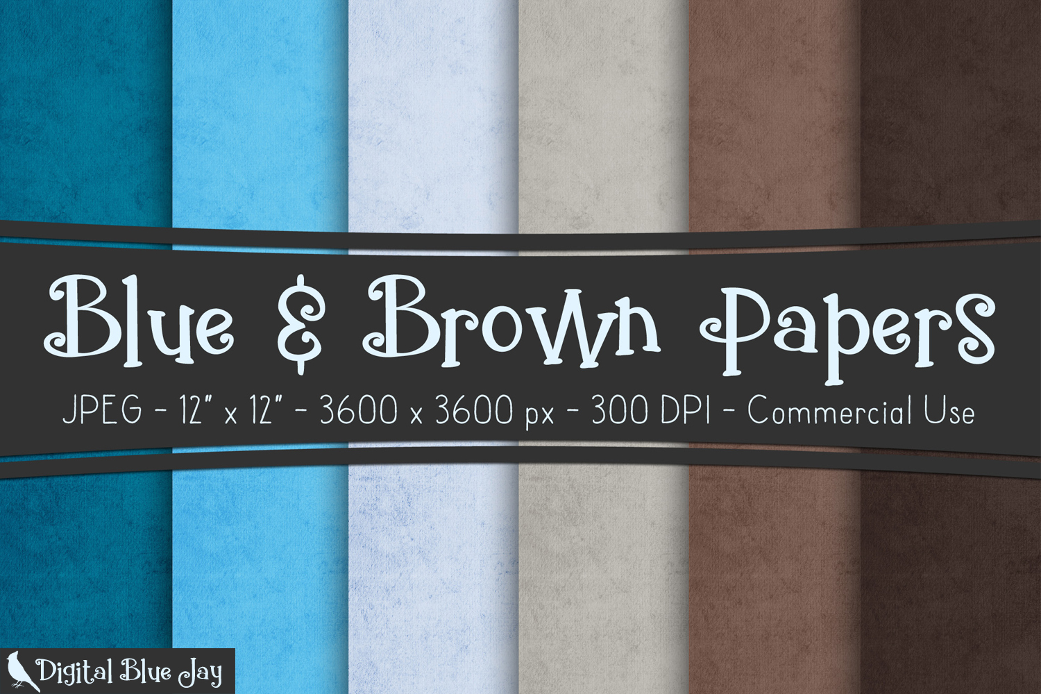 Digital Paper Textured Backgrounds - Blues & Browns example image 1
