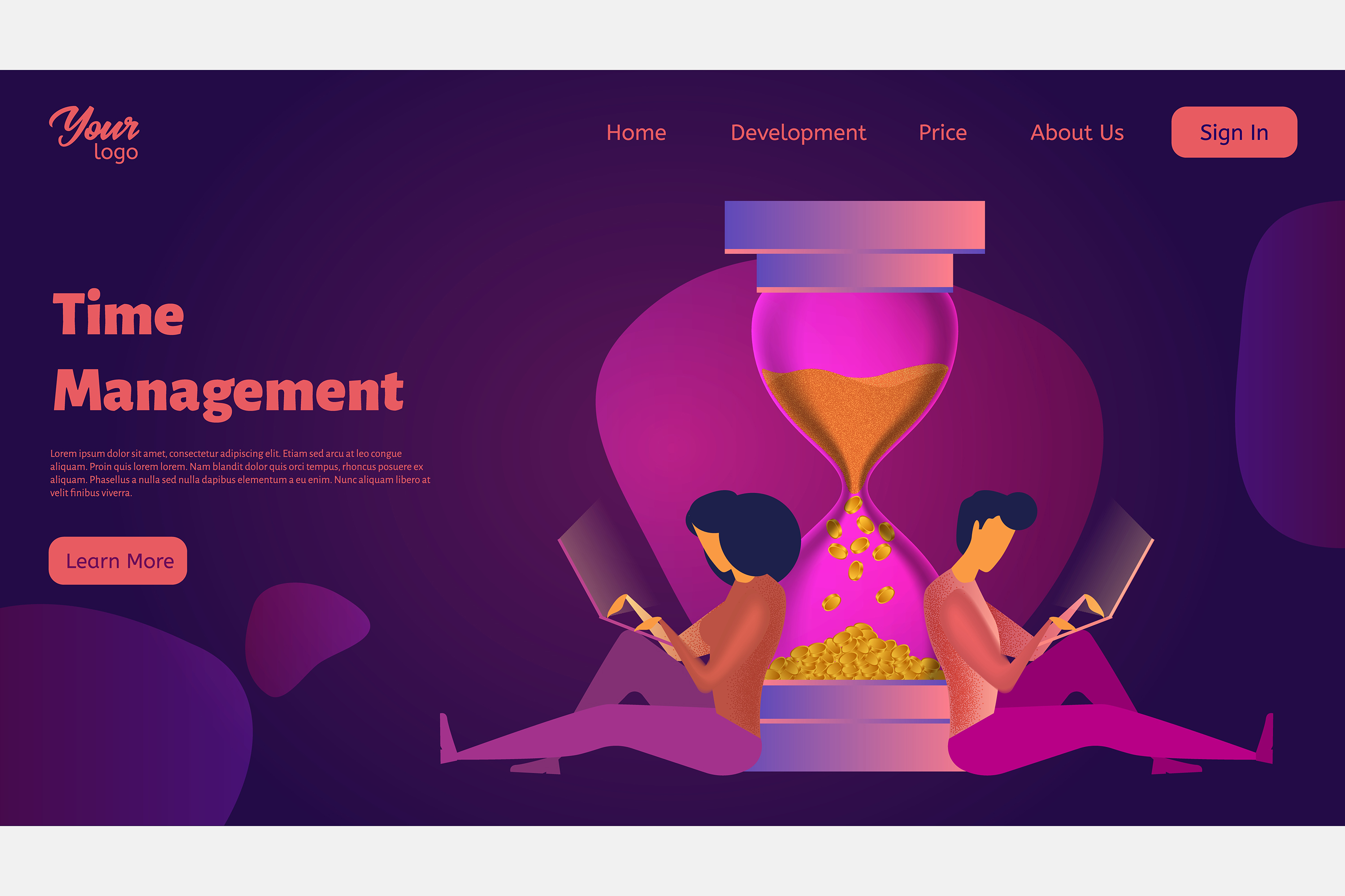 Time management. Landing page headers example image 9