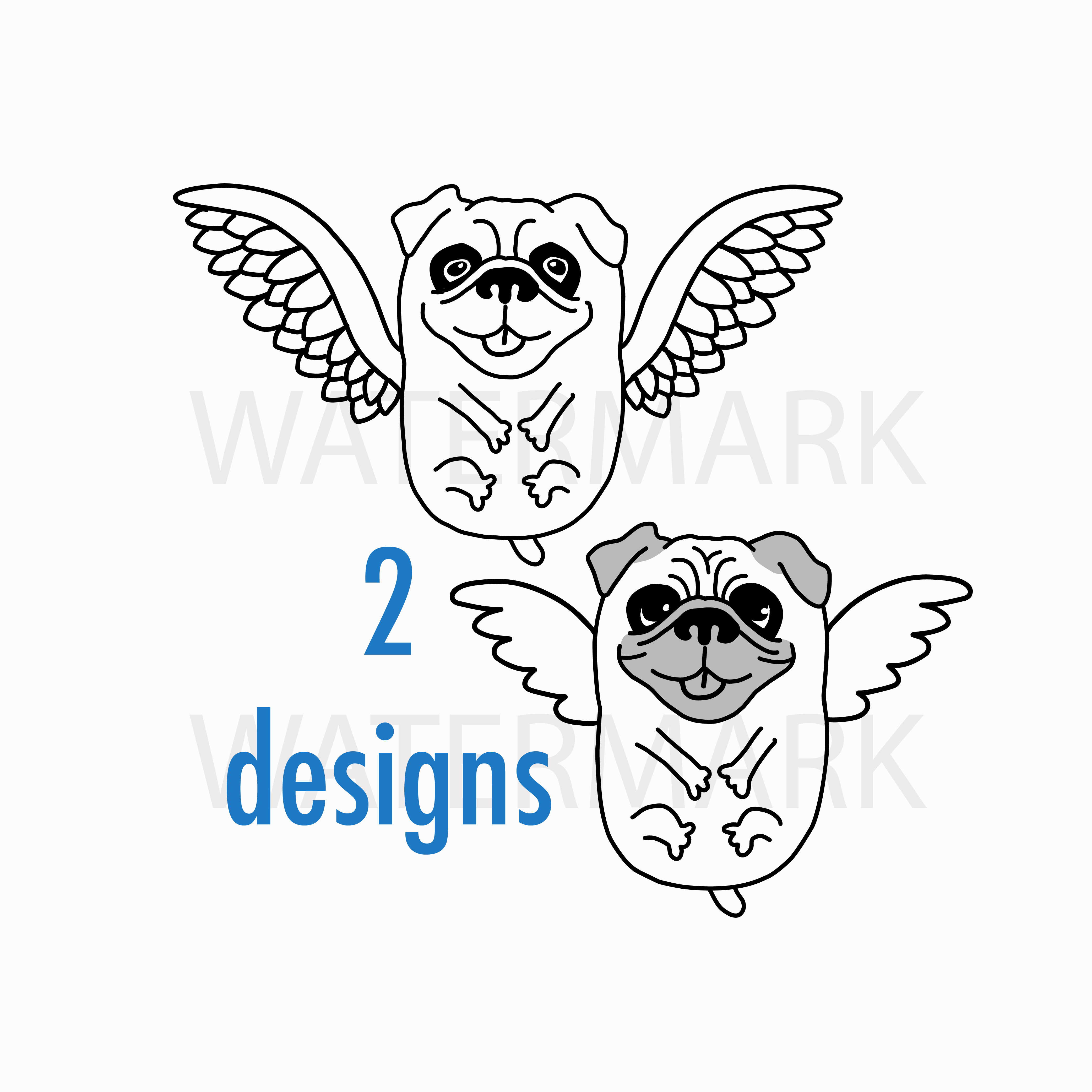 Flying Pug Dog with bird wings - SVG/JPG/PNG Hand Drawing example image 1