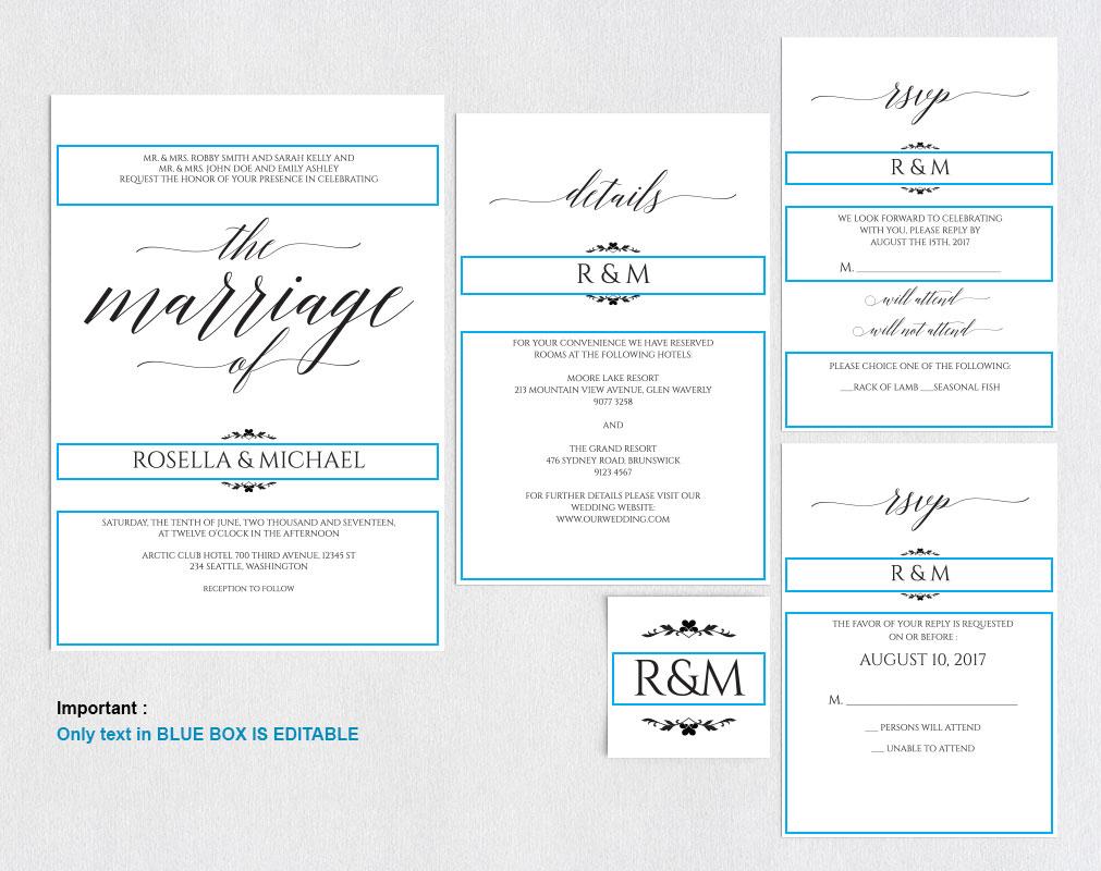 Wedding invitation set portrait, TOS_13 example image 4