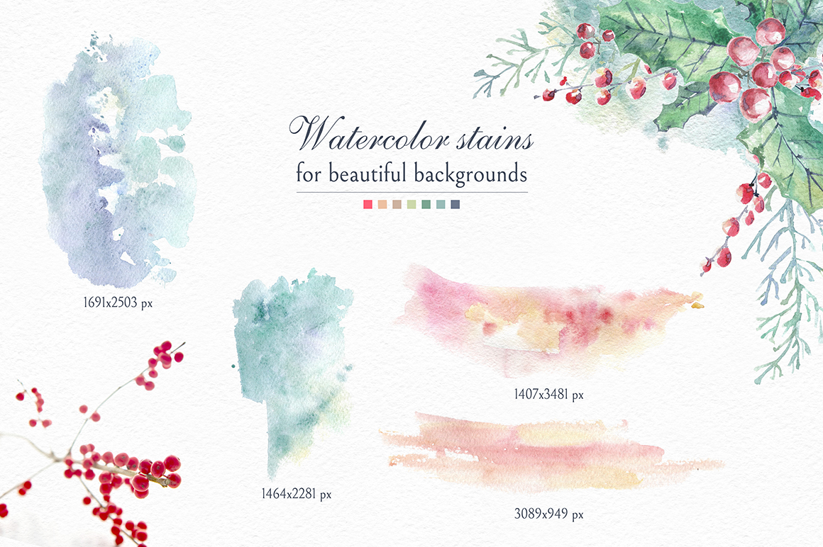 Cozy CHRISTMAS. Watercolor graphic kit. example image 10