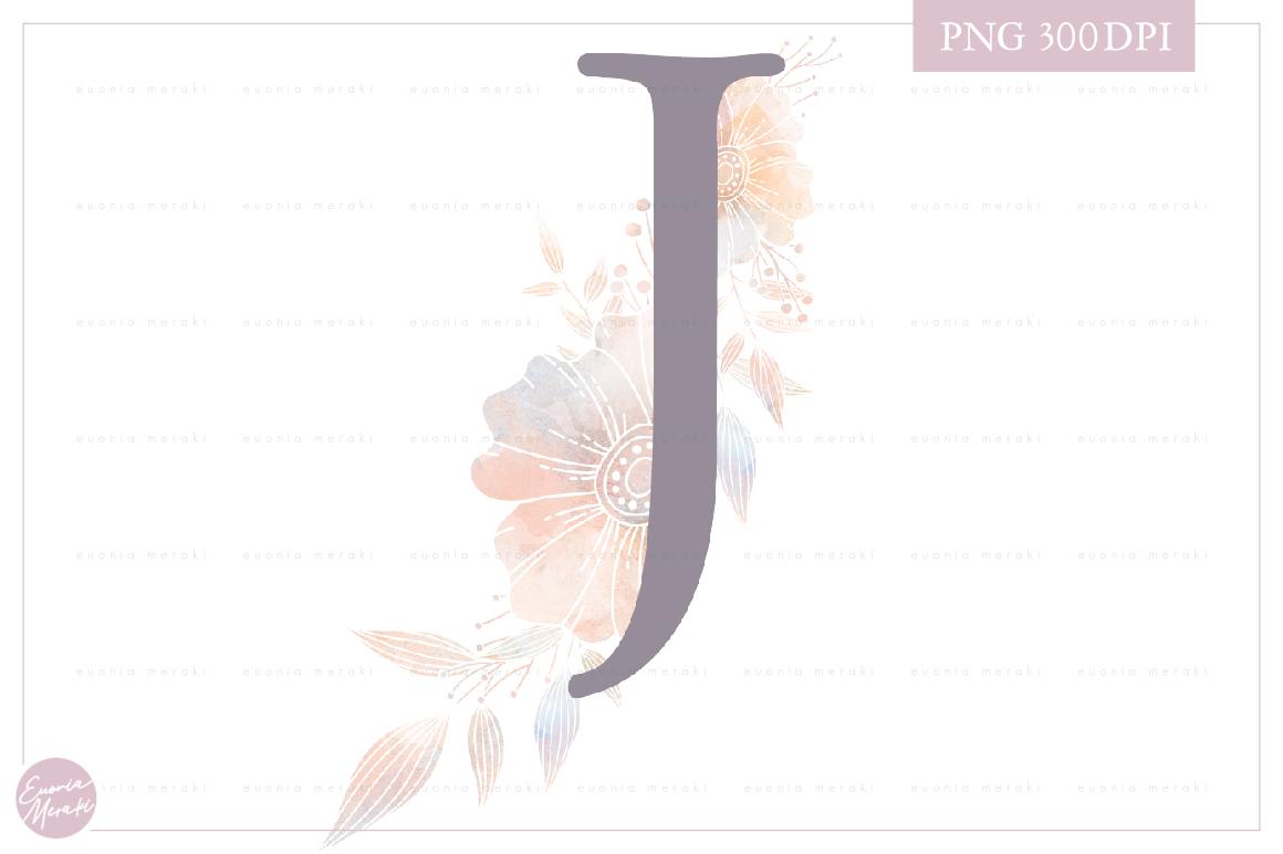 Letter J Floral MONOGRAM - WEDDING flower initial example image 1