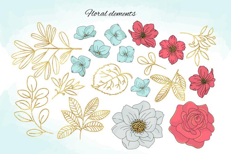 BLOOM Gold Floral Decorative Alphabet Number Set example image 7