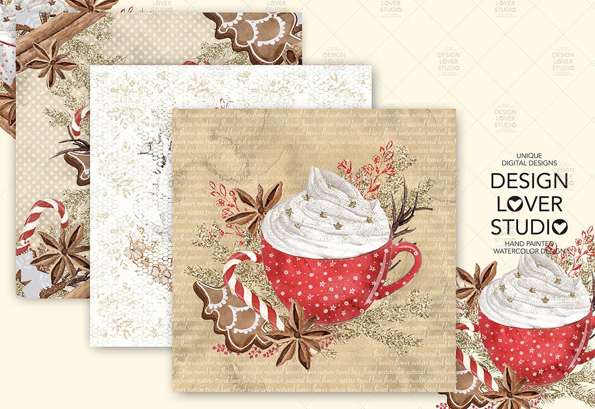 Gingerbread Cookies Christmas digital paper pack example image 5