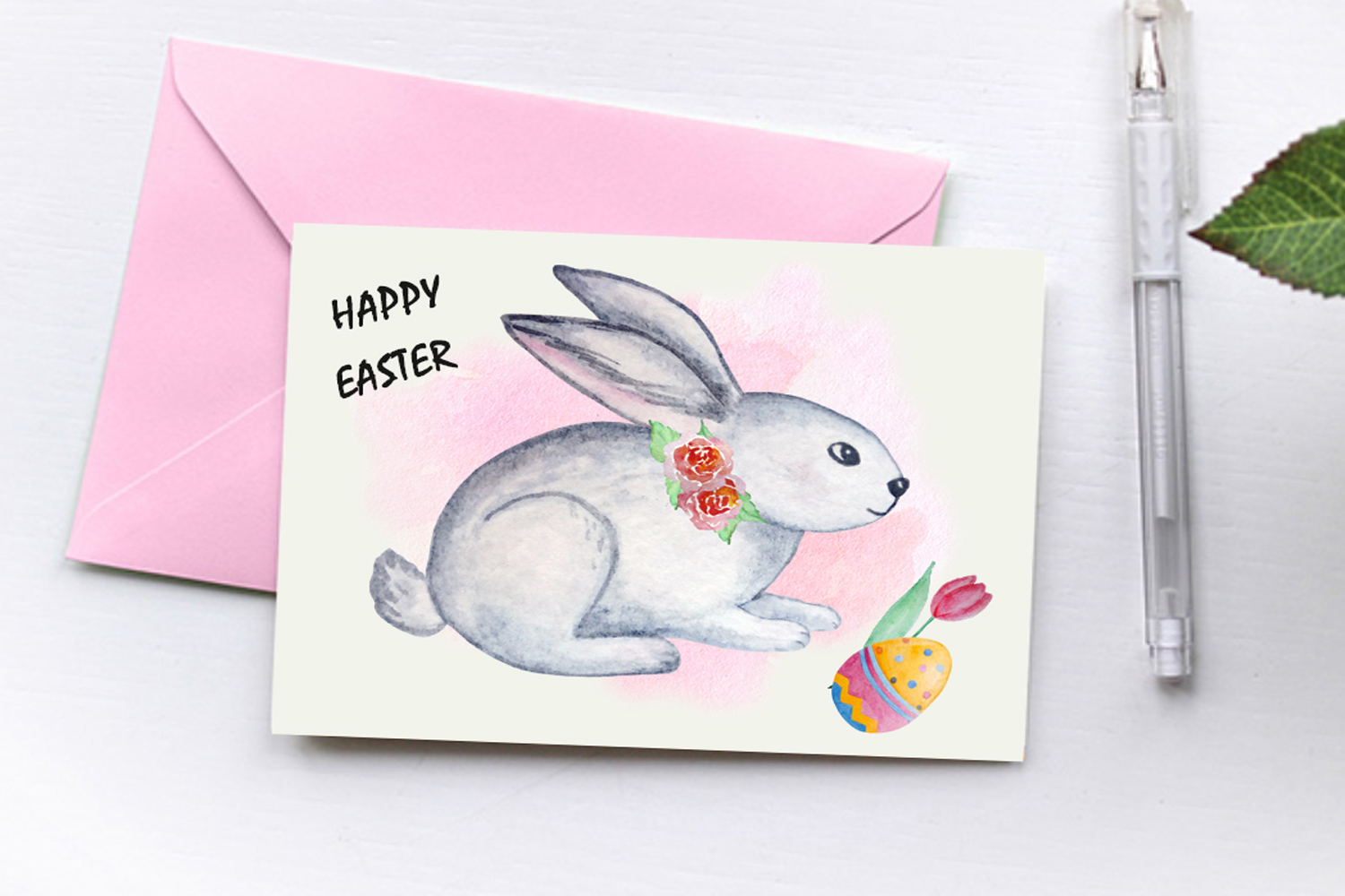 Watercolor Happy Easter Clipart Set example image 5