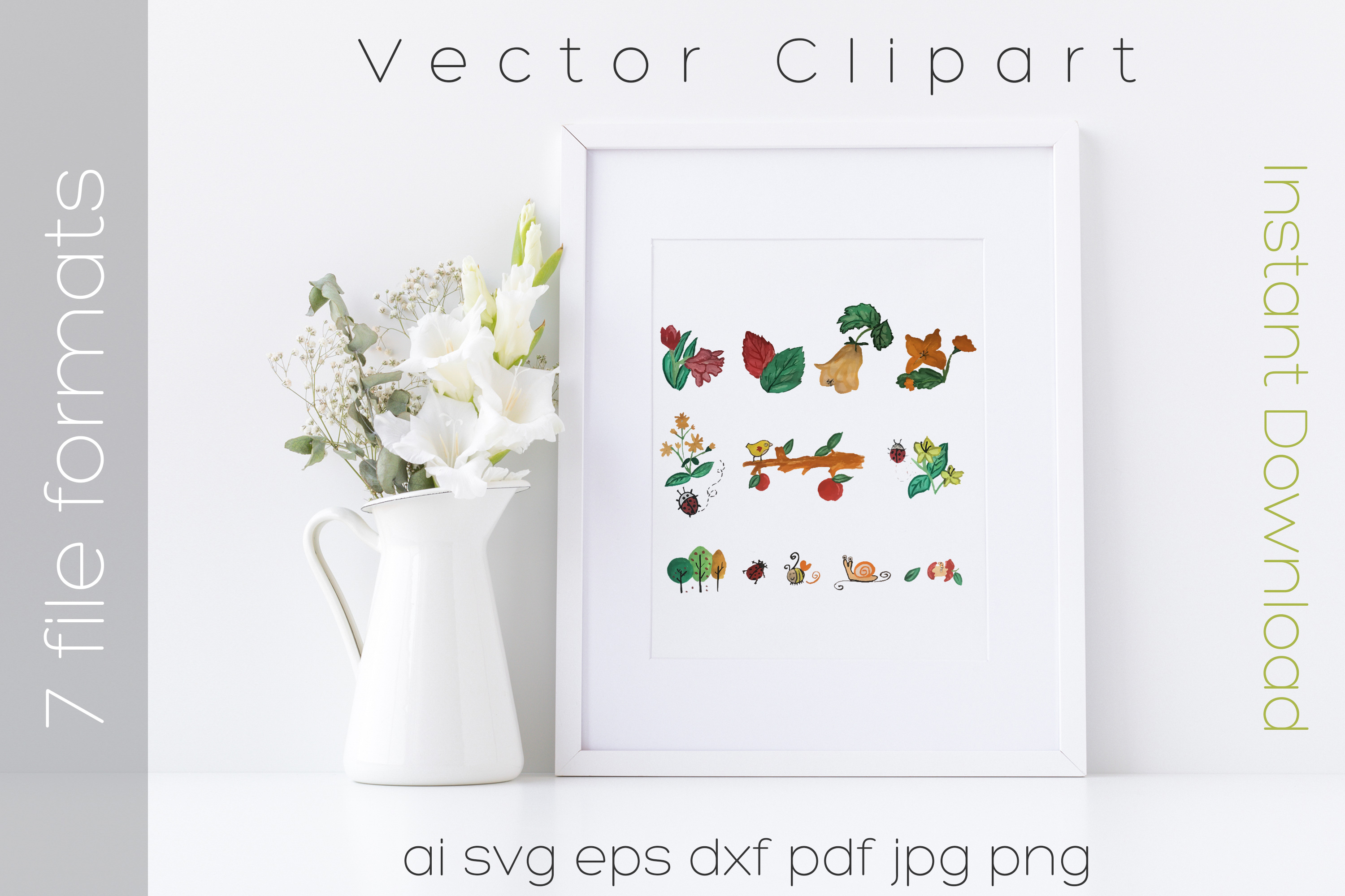 Nature SVG Bundle Watercolor Clipart Drawing Vector Cutfiles example image 1