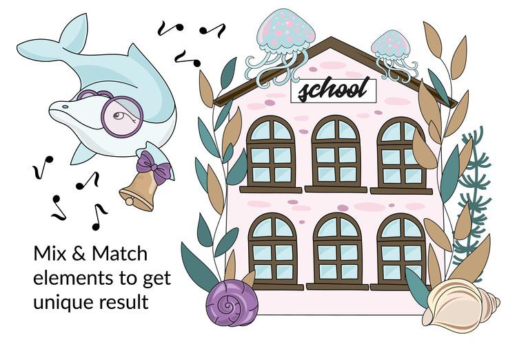 MERMAID SCHOOL Vector Illustration Animation Set example image 4