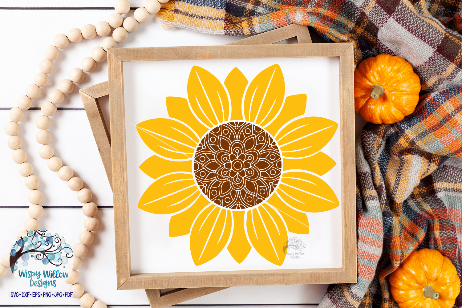 Sunflower SVG Set | Monogram | Mandala | Fall SVG Cut File example image 2