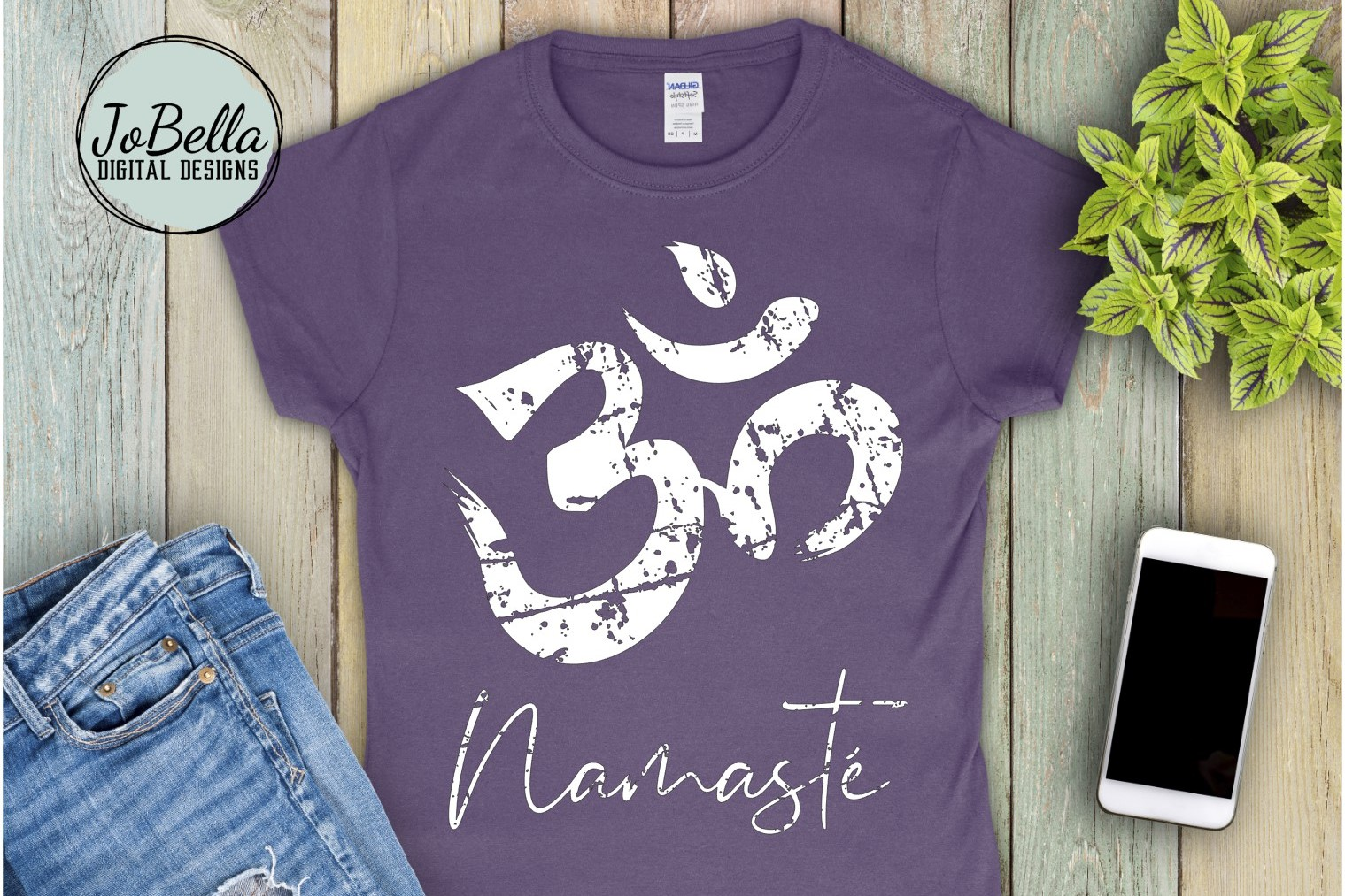 Distressed Om With Namaste SVG and Printable Boho Design example image 1