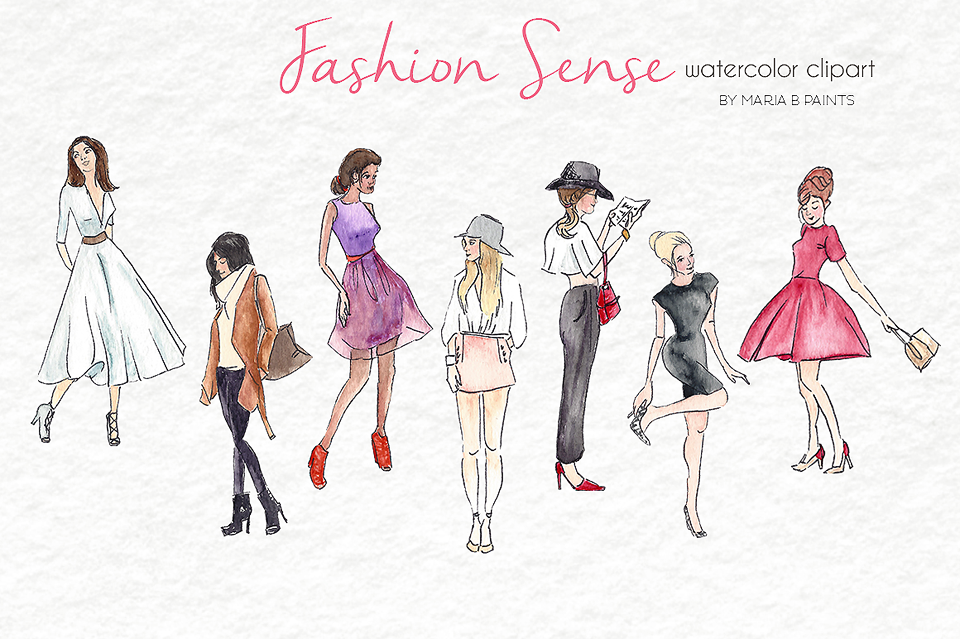 Watercolor Clip Art - Fashion Models example image 2