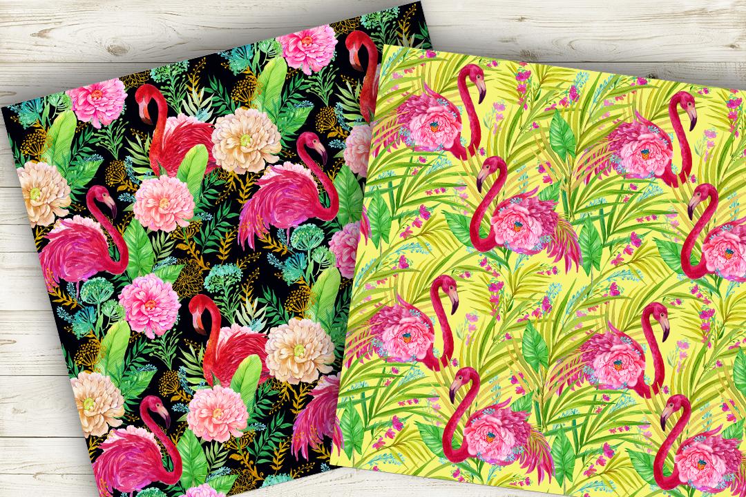 Flamingo.Seamless patterns, example image 2