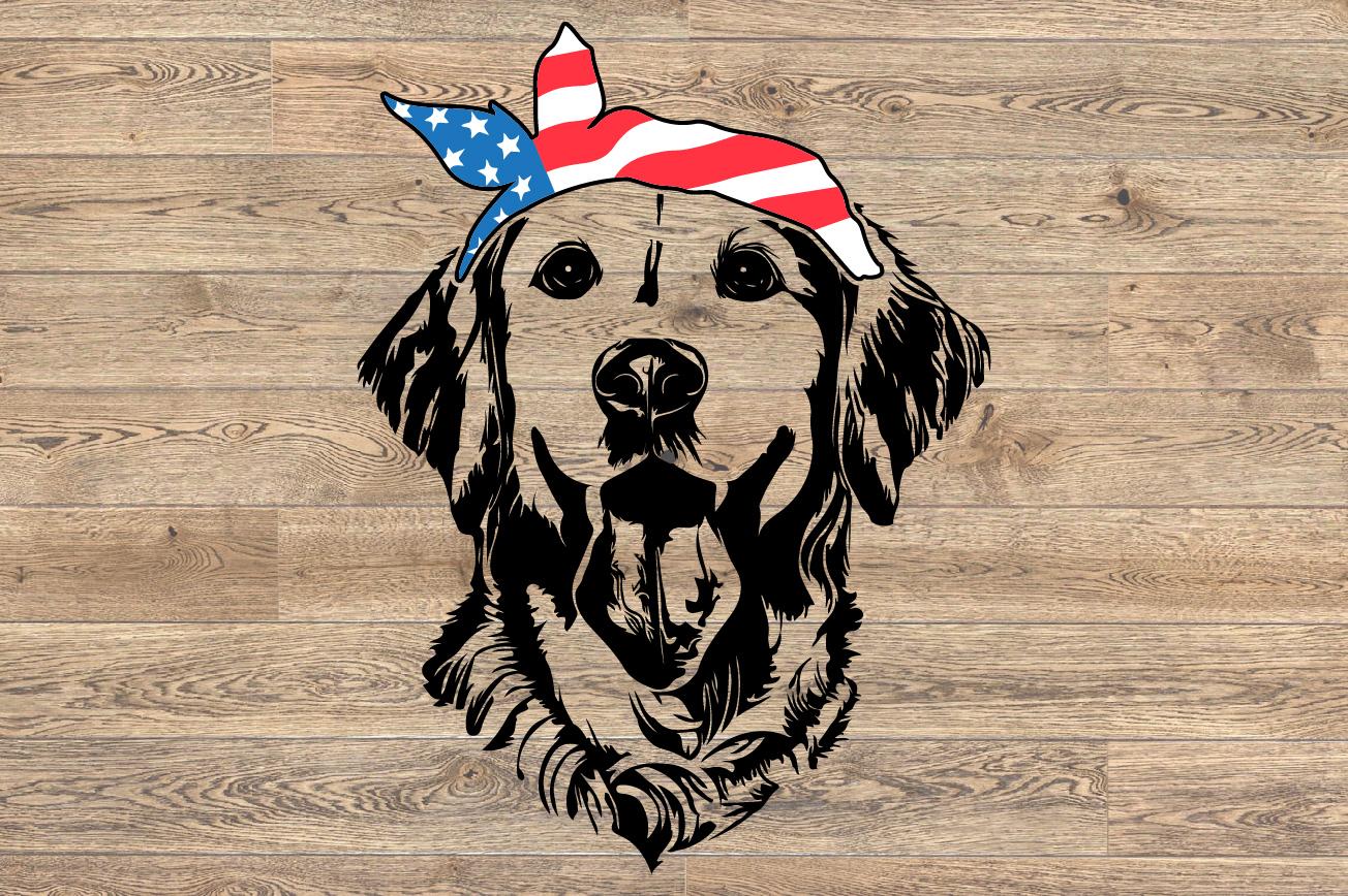 Lab SVG Labrador USA Bandana Head Dog 4th July Breed 1374s example image 2