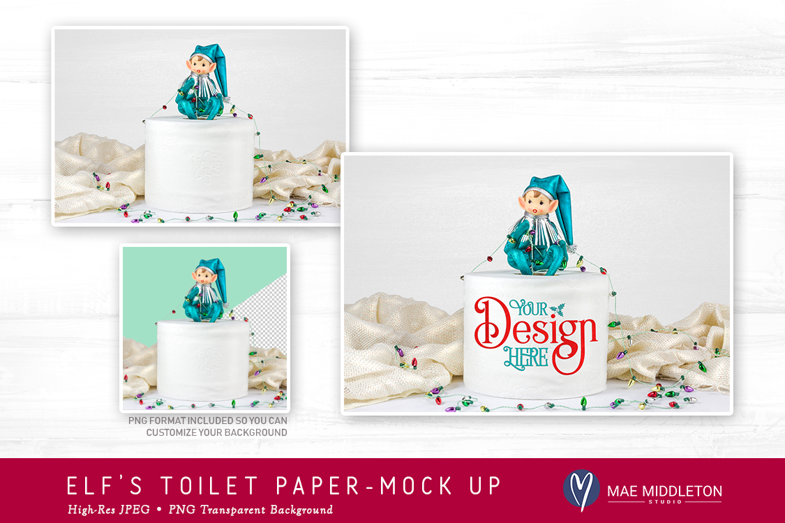 Elf's Toilet Paper Roll Mock up for Christmas example image 2