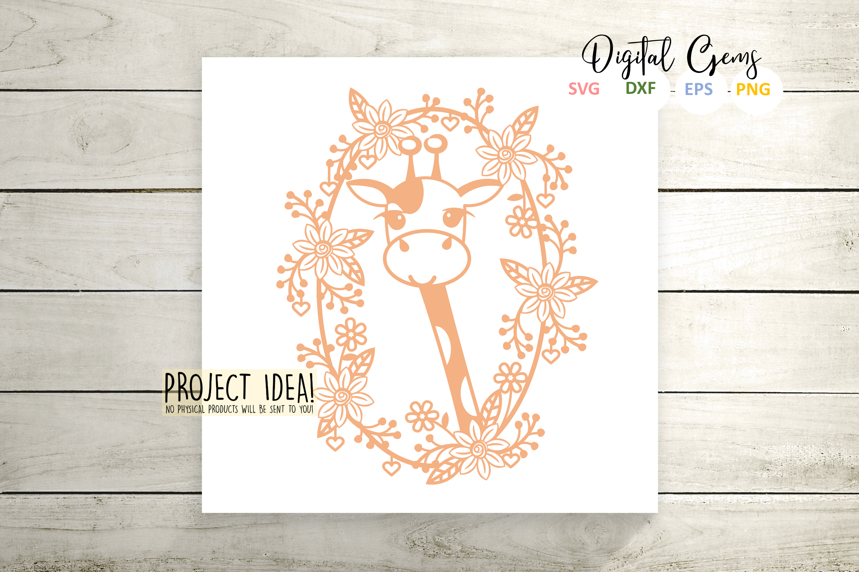 Giraffe paper cut designs SVG / DXF / EPS / PNG files example image 5